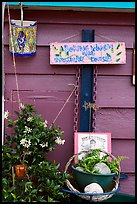 Whimsical decorations on houseboat. Victoria, British Columbia, Canada (color)
