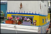 Houseboat decorated with a monkey theme. Victoria, British Columbia, Canada (color)
