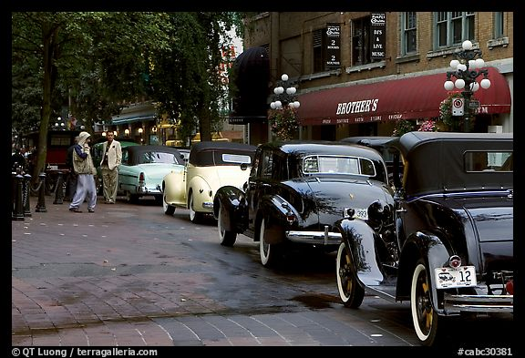 Classic cars in Gastown. Vancouver, British Columbia, Canada (color)