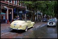 Classic cars in Water Street. Vancouver, British Columbia, Canada