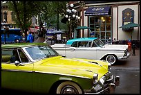 Classic cars in Water Street. Vancouver, British Columbia, Canada (color)