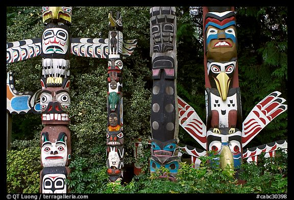Totem collection near the Capilano bridge. Vancouver, British Columbia, Canada (color)