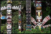 Totem collection near the Capilano bridge. Vancouver, British Columbia, Canada