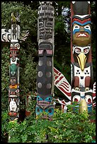 Totems near the Capilano bridge. Vancouver, British Columbia, Canada (color)