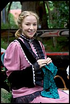 Woman in period costume. Vancouver, British Columbia, Canada
