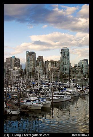 Skyline and boats seen from Fishermans harbor, late afternoon. Vancouver, British Columbia, Canada