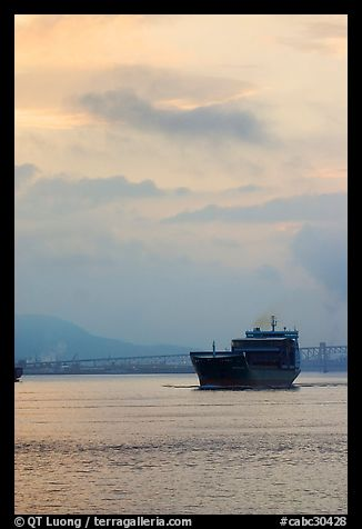 Container ship in harbor. Vancouver, British Columbia, Canada (color)