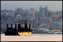 Cargo ship in harbor. Vancouver, British Columbia, Canada (color)