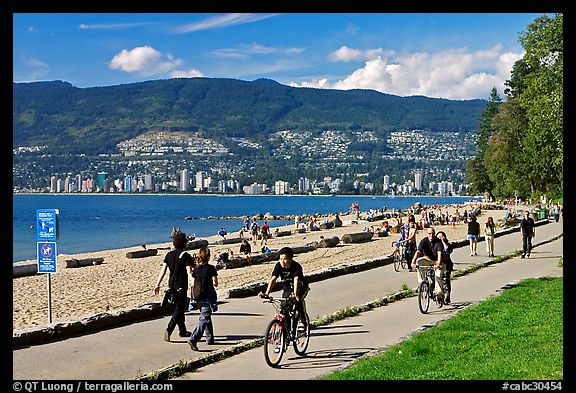 Bicyclists, and walkers,  Stanley Park. Vancouver, British Columbia, Canada