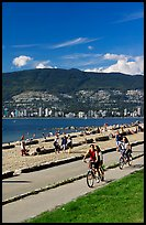 Bicyclists, Stanley Park. Vancouver, British Columbia, Canada