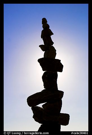 Backlit balanced rocks. Vancouver, British Columbia, Canada (color)