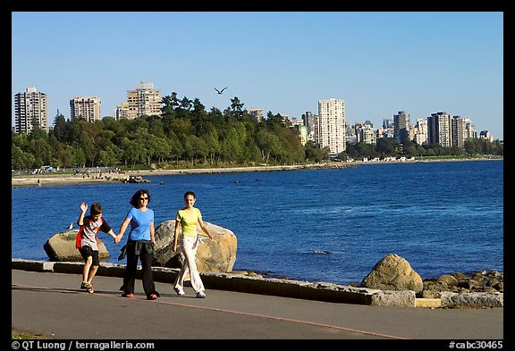 Family walking around Stanley Park. Vancouver, British Columbia, Canada (color)