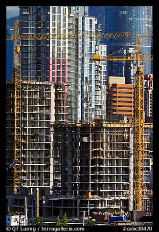 Residential towers in construction. Vancouver, British Columbia, Canada (color)