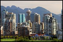 Downtown skyline and mountains. Vancouver, British Columbia, Canada (color)
