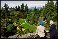 Elderly couple looking at the Sunken Garden in Queen Elizabeth Park. Vancouver, British Columbia, Canada
