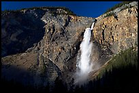 Clif and Takakkaw Falls, one the Canada's highest waterfalls. Yoho National Park, Canadian Rockies, British Columbia, Canada