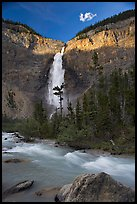 Last light on Takakkaw Falls. Yoho National Park, Canadian Rockies, British Columbia, Canada