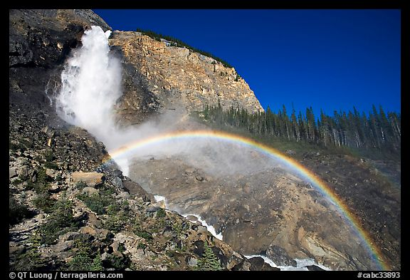 Rainbow at the base of Takakkaw Falls, late afternoon. Yoho National Park, Canadian Rockies, British Columbia, Canada