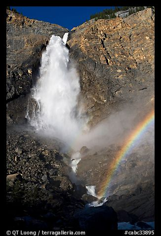 Takkakaw Falls, mist, and rainbow, late afternoon. Yoho National Park, Canadian Rockies, British Columbia, Canada