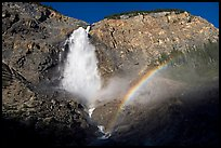 Takakkaw Falls and rainbow, late afternoon. Yoho National Park, Canadian Rockies, British Columbia, Canada (color)