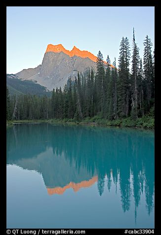 Mount Burgess reflected in Emerald Lake, sunset. Yoho National Park, Canadian Rockies, British Columbia, Canada (color)