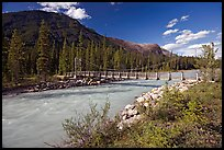 Suspension bridge spanning the Vermillion River. Kootenay National Park, Canadian Rockies, British Columbia, Canada