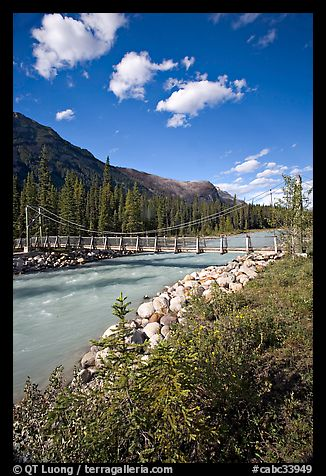 Suspension bridge crossing the Vermillion River. Kootenay National Park, Canadian Rockies, British Columbia, Canada