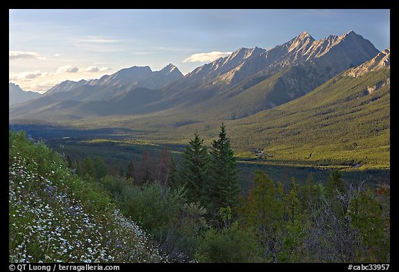 Kootenay Valley and Mitchell Range, from Kootenay Valley viewpoint, late afternoon. Kootenay National Park, Canadian Rockies, British Columbia, Canada