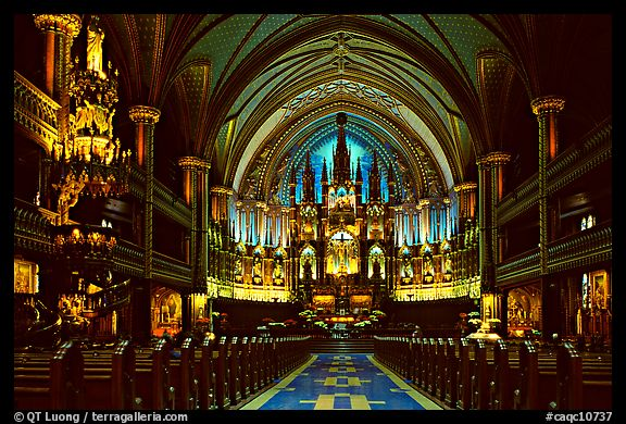 Interior of Basilique Notre Dame, Montreal. Quebec, Canada (color)