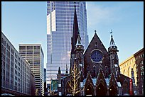 Church and modern buildings, Montreal. Quebec, Canada (color)