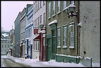 Street in winter with snow on the curb, Quebec City. Quebec, Canada