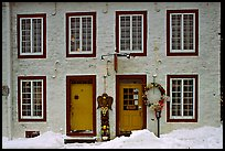 Facade in winter with snow on the curb,  Quebec City. Quebec, Canada