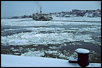 Ferry crossing the Saint Laurent river partly covered with ice, Quebec City. Quebec, Canada