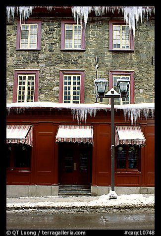 Facade with icicles, Quebec City. Quebec, Canada (color)