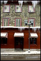 Facade with icicles, Quebec City. Quebec, Canada
