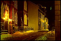 Street at night in winter, Quebec City. Quebec, Canada