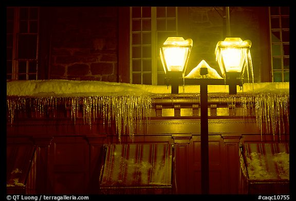 Lamp and icicles at night, Quebec City. Quebec, Canada (color)