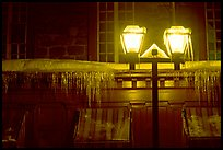 Lamp and icicles at night, Quebec City. Quebec, Canada