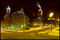 Square at night in winter, Quebec City. Quebec, Canada