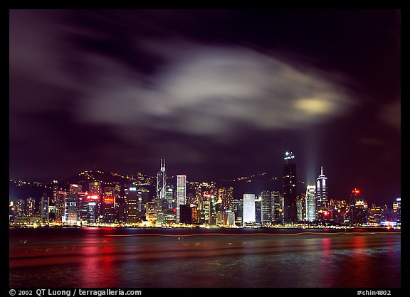 Hong-Kong Island skyline from the waterfront promenade by night. Hong-Kong, China (color)