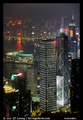 Bank of China (369m) and Cheung Kong Center (290m) buildings  from Victoria Peak by night. Hong-Kong, China (color)