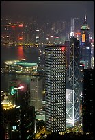 Bank of China (369m) and Cheung Kong Center (290m) buildings  from Victoria Peak by night. Hong-Kong, China ( color)