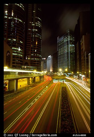 Expressway on Hong-Kong Island by night. Hong-Kong, China