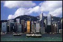 Star ferries and Hong-Kong island across the buy Hong-Kong harbor. Hong-Kong, China (color)