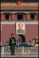 Guard in winter uniform and Mao Zedong picture, Tiananmen Square. Beijing, China (color)