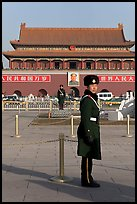 Guards and Tiananmen Gate, Tiananmen Square. Beijing, China ( color)