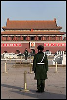 Gate of Heavenly Peace and guards, Tiananmen Square. Beijing, China (color)