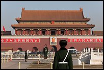 Tian'anmen Gate and guards, Tiananmen Square. Beijing, China