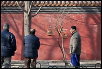 Bird market along red wall. Beijing, China