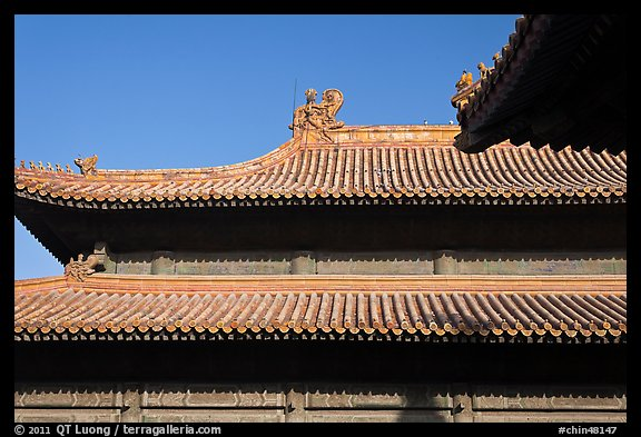 Roof detail, Forbidden City. Beijing, China (color)